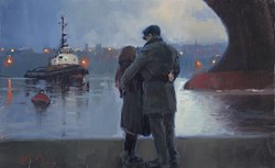River Traffic (study) by Kevin Day - Original Painting, Canvas on Board sized 16x10 inches. Available from Whitewall Galleries